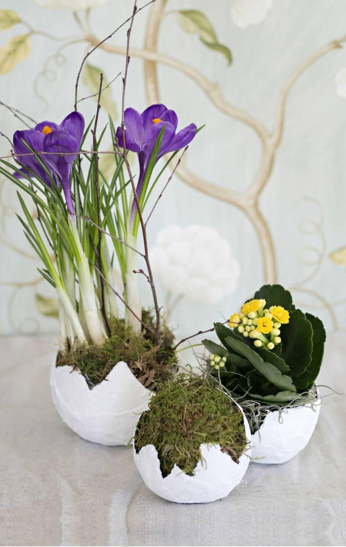 Gör ett eget gipsägg att plantera blommor i inför påsk