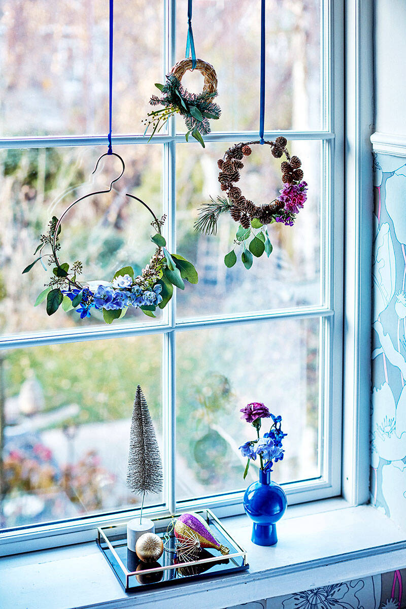 3 julkransar med snittblommor –så gör du