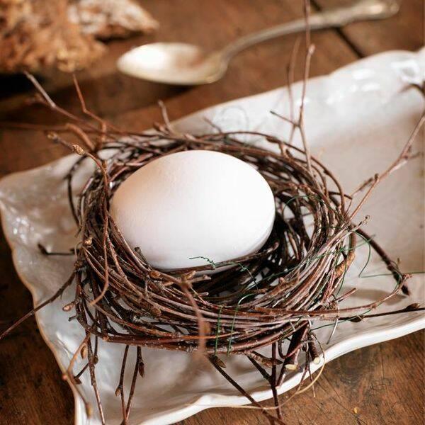 Dekorativt fågelbo till dukningen