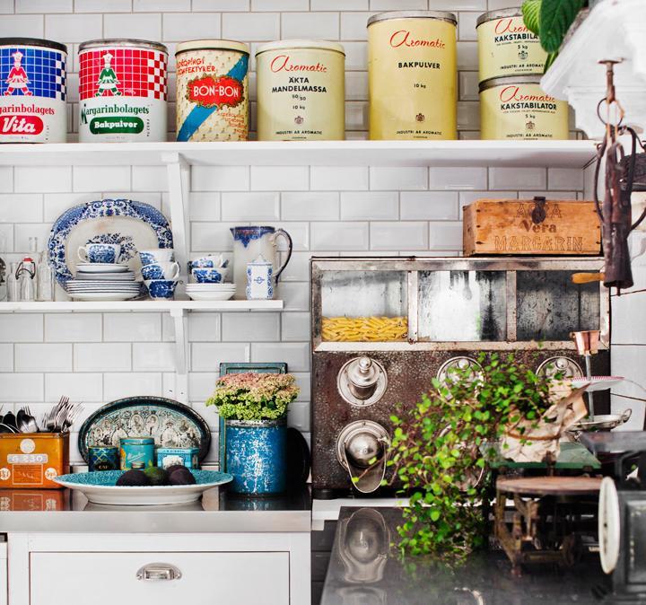 Vintagekök för storfamiljen