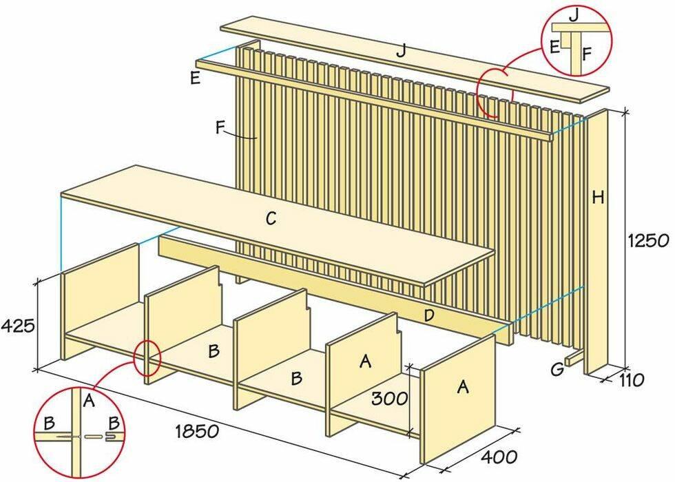 Bygg bänk och elementskydd i ett