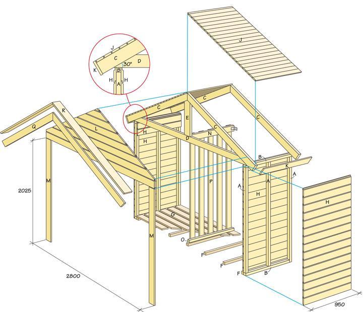 Bygg ett vackert vedskjul invid väggen