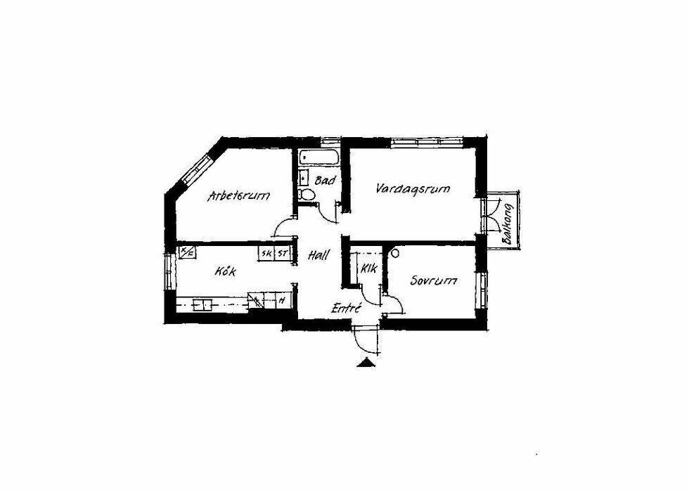 Lägenhet med blandning av gammalt och nytt