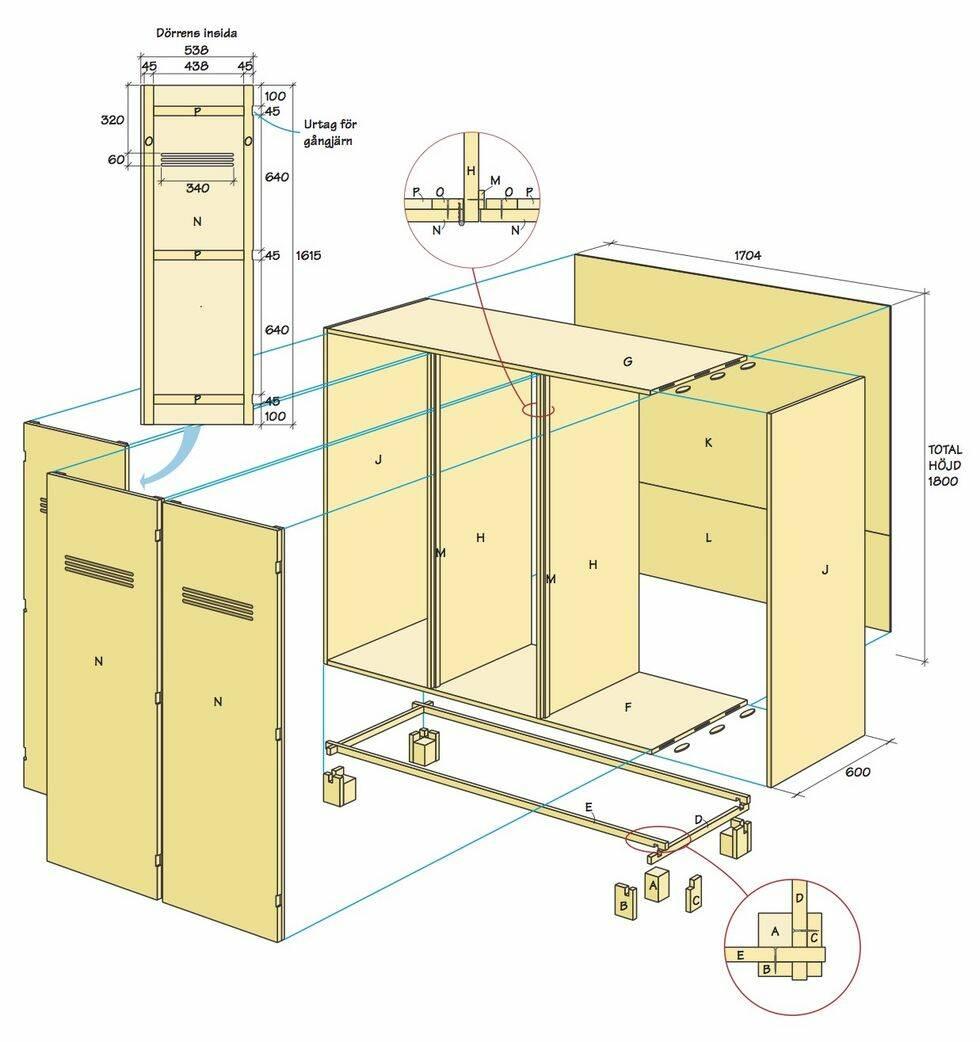 Så här bygger du finaste garderoben i björkfaner med läderhandtag