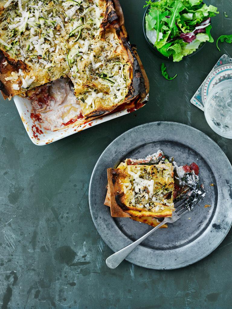 lasagne med zucchini, ricotta och getost
