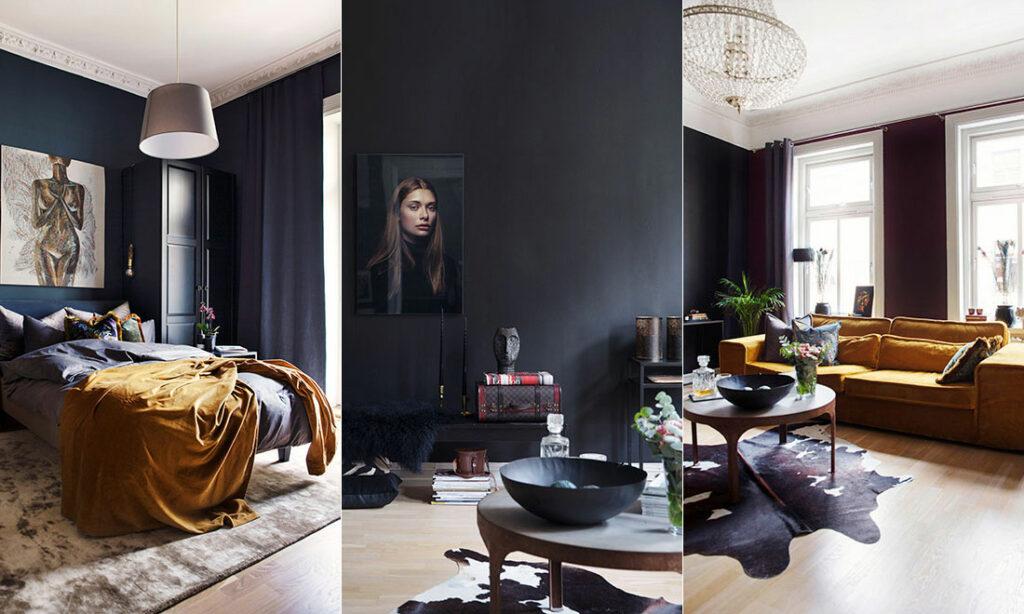 tre bilder från ett hem